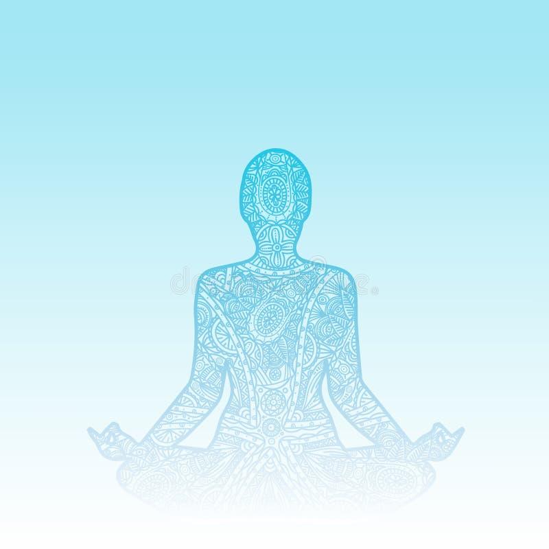 Homme dans la méditation - gribouillez la silhouette d'ornement de zentangle illustration stock
