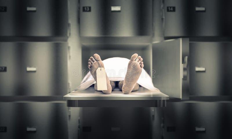 Homme dans la morgue photos stock