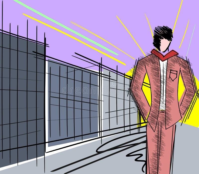 Homme dans la ville illustration stock