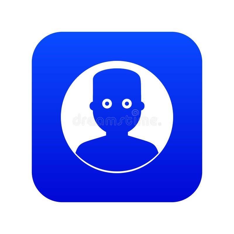 Homme dans le bleu numérique d'icône foncée illustration stock