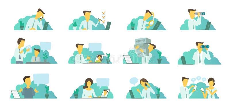 Homme dans le bureau au travail Recherche d'un ordinateur portable Correspondance, communication et résolution des problèmes illustration de vecteur