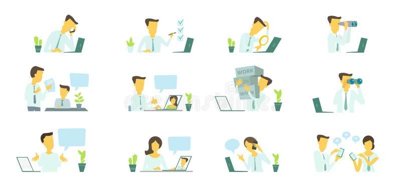 Homme dans le bureau au travail Recherche d'un ordinateur portable Correspondance, communication et résolution des problèmes illustration libre de droits