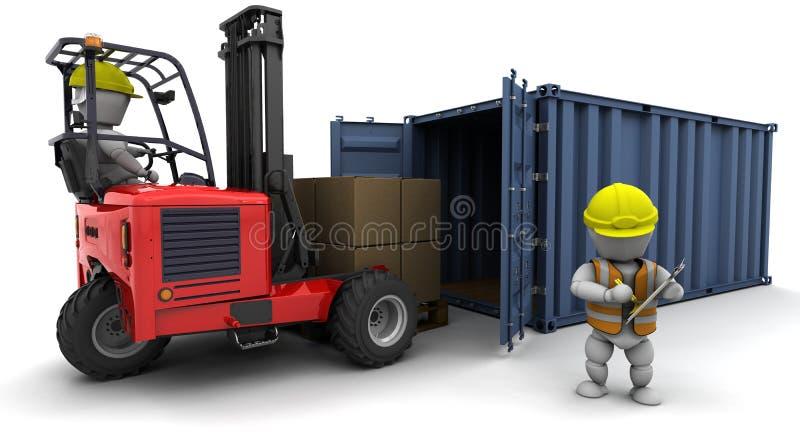 Homme dans le chariot gerbeur chargeant un conteneur illustration libre de droits