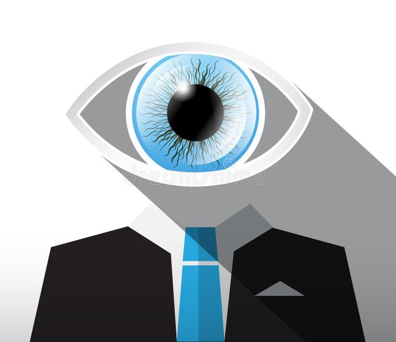 Homme dans le costume avec l'oeil de Big Blue illustration de vecteur