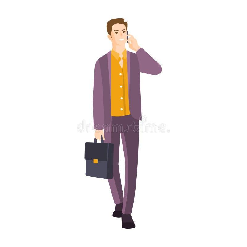 Homme dans le costume avec la valise parlant de la pièce de téléphone de la collection de jeune style professionnel de bureau de  illustration de vecteur