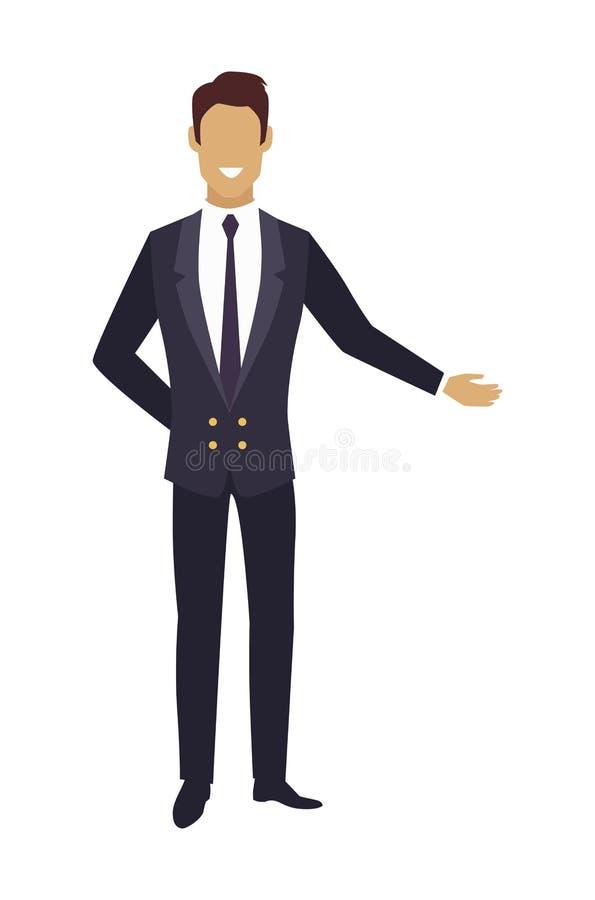 Homme dans le costume cher dirigeant sur quelque chose le vecteur illustration stock