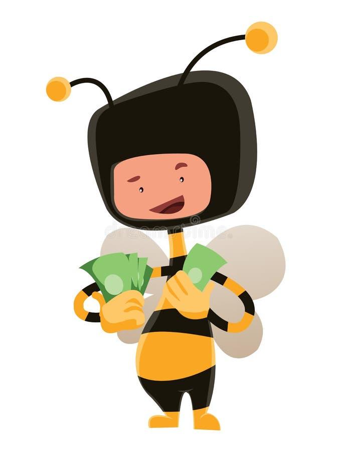 Homme dans le costume d'abeille de miel tenant le personnage de dessin animé d'illustration d'argent illustration libre de droits