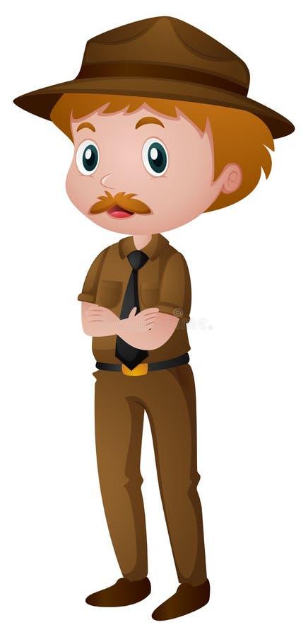Homme dans le costume de garde forestier illustration stock