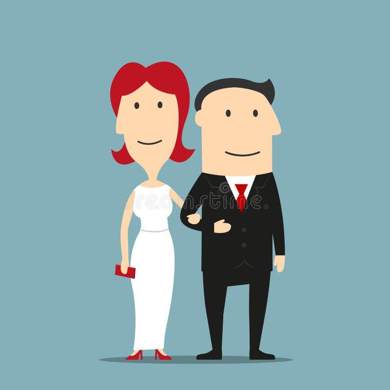 Homme dans le costume et femme dans la robe de soirée illustration stock