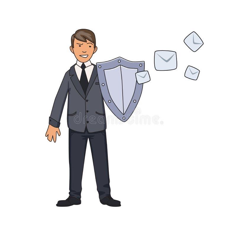 Homme dans le costume se protégeant avec un bouclier contre le courrier non désiré Spam, protection d'antispam vecteur de concept illustration libre de droits