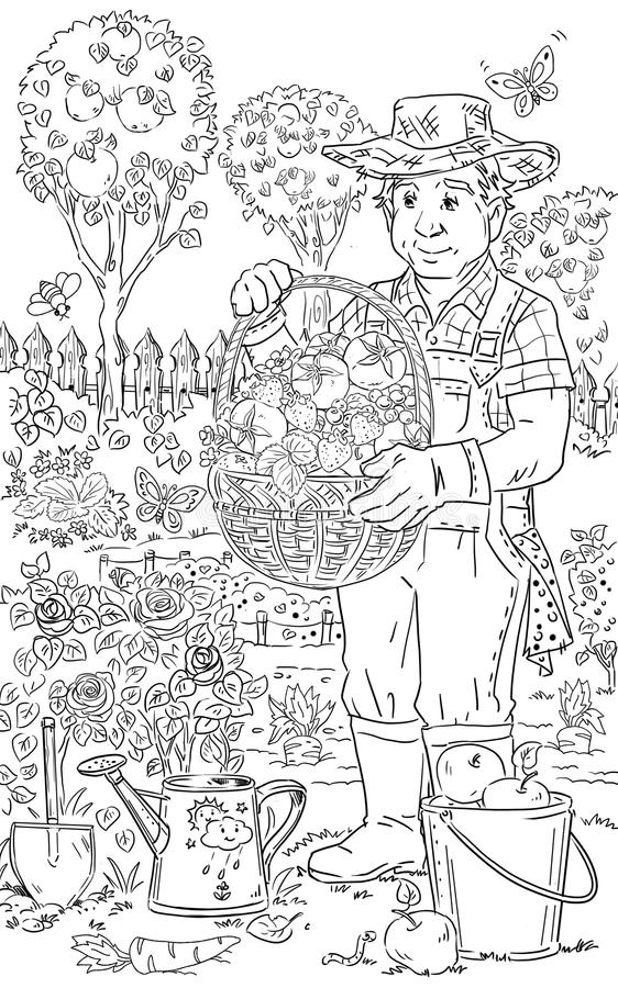 Homme dans le jardin illustration de vecteur