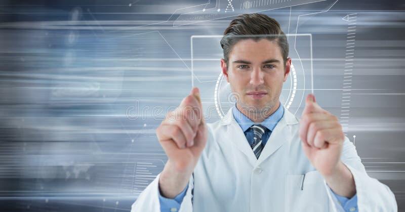 Homme dans le manteau de laboratoire retardant le dispositif en verre contre la tache floue de mouvement photographie stock
