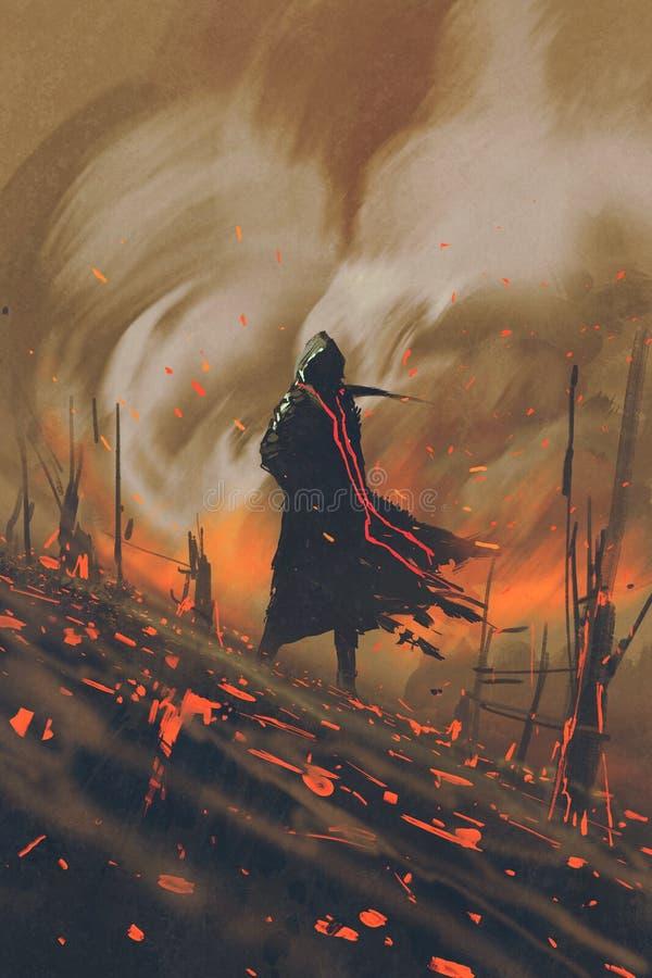 Homme dans le manteau noir se tenant contre la forêt brûlante illustration libre de droits