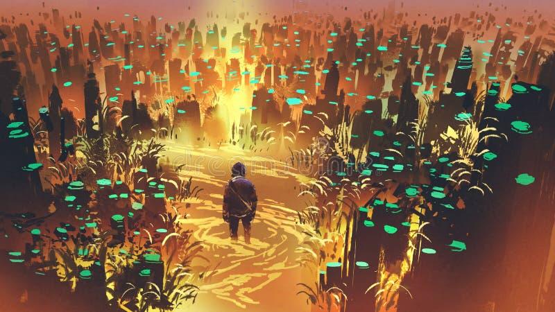 Homme dans le marais enchanté illustration stock