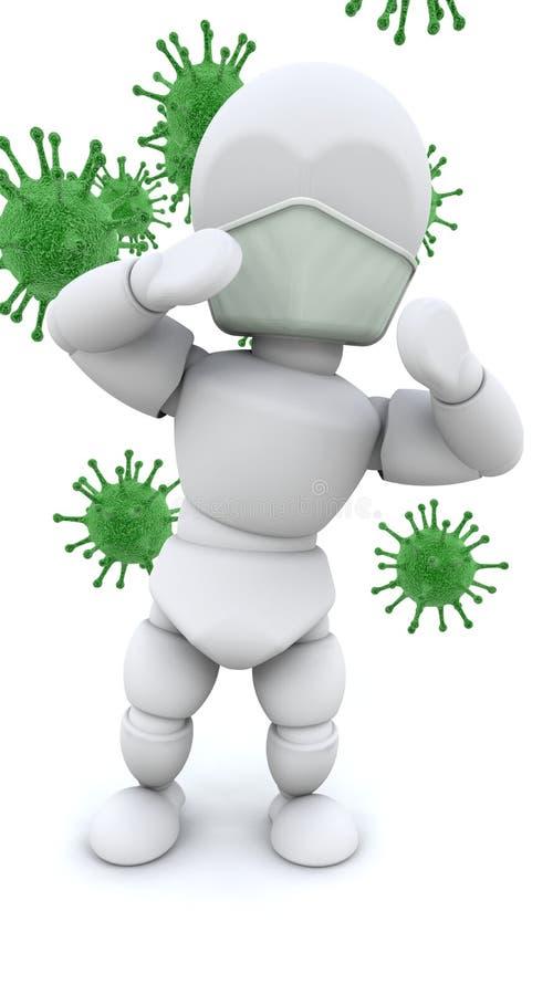 Homme dans le masque entouré par des bactéries illustration stock