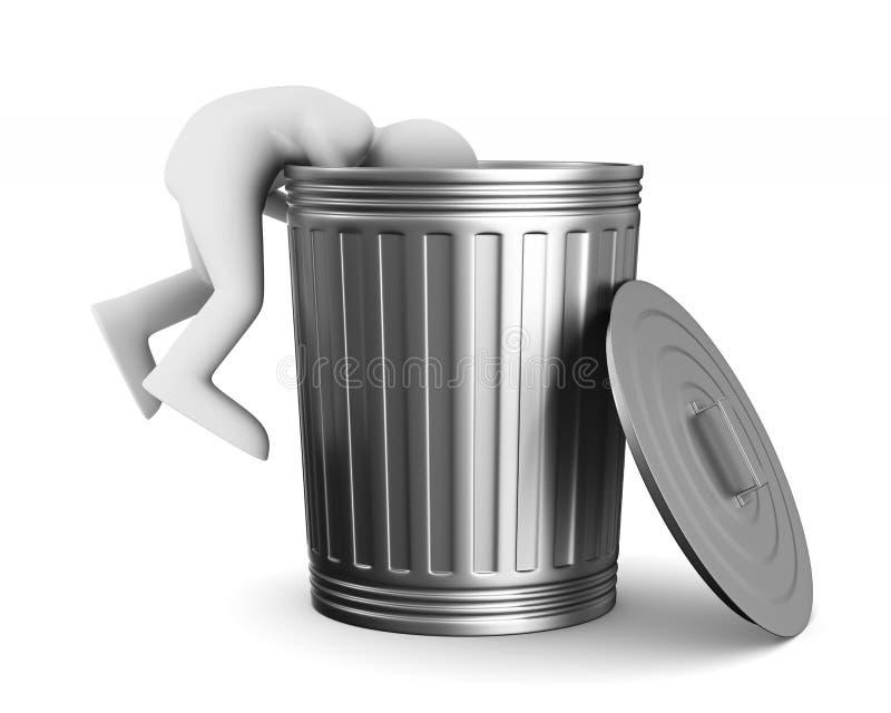Homme dans le panier de déchets sur le fond blanc Illustr 3d d'isolement illustration stock