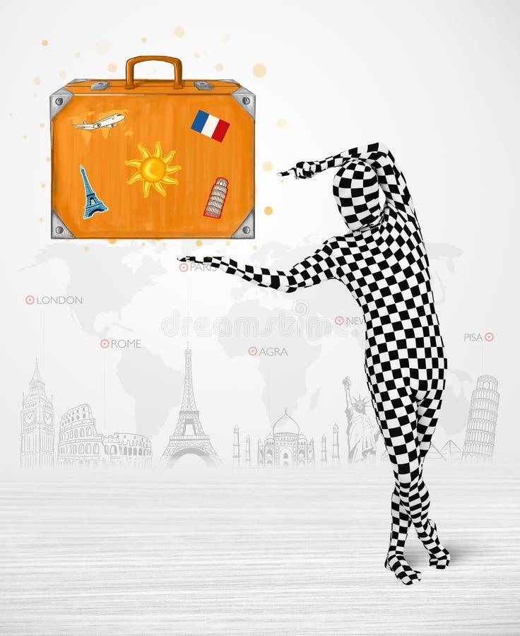 Download Homme Dans Le Plein Costume De Corps Présentant La Valise De Vacances Illustration Stock - Illustration du bagage, concept: 45365899