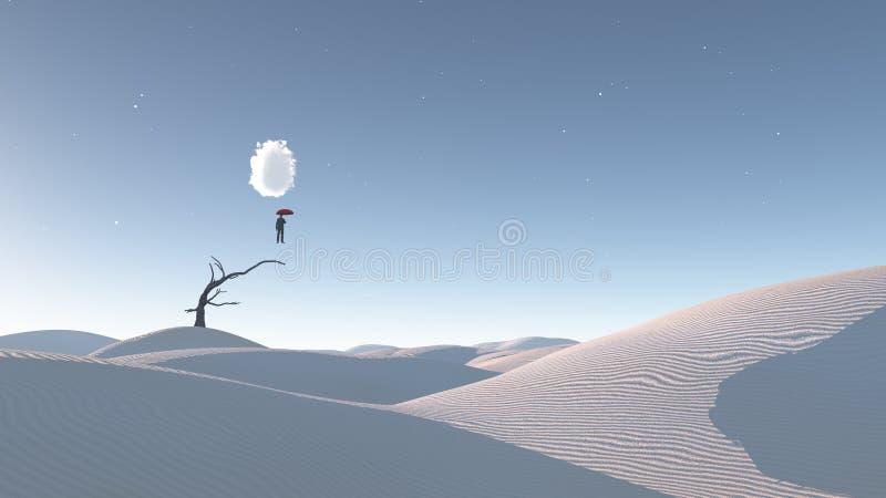 Homme dans le plein vol dans le désert surréaliste illustration libre de droits