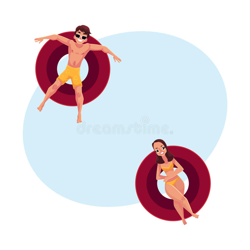 Homme dans les lunettes de soleil et le bikini de port de femme sur les anneaux gonflables illustration libre de droits
