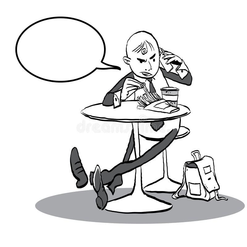Homme dans un café parlant avec le téléphone Homme ayant la conversation fâchée illustration de vecteur