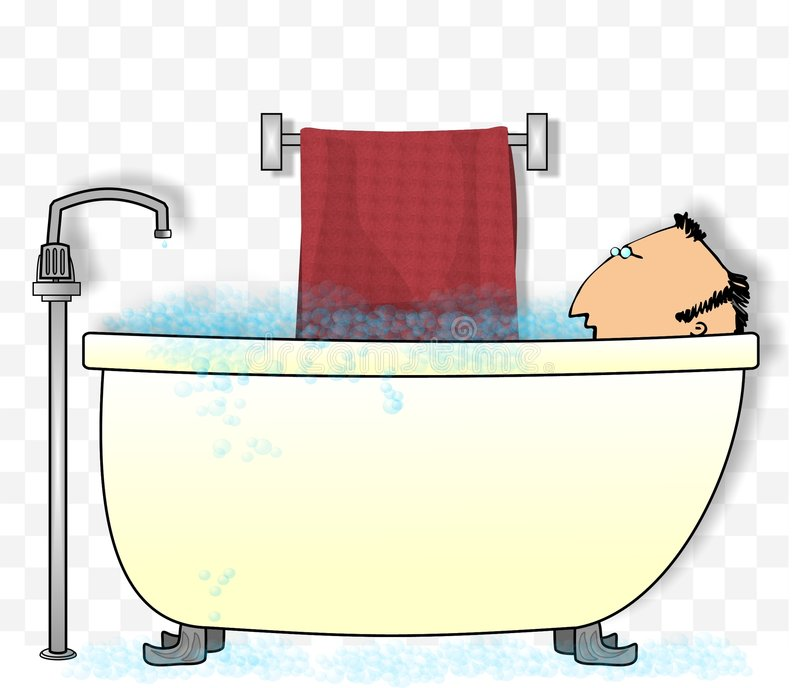 Homme dans une baignoire illustration libre de droits
