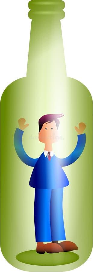Homme dans une bouteille illustration stock