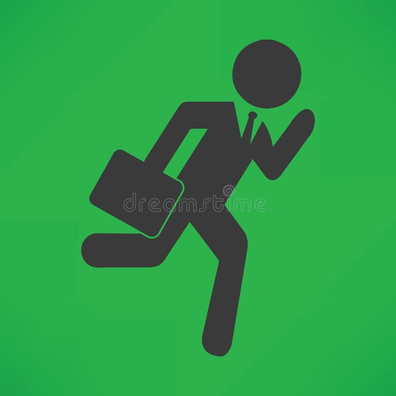 Homme de bâton d'homme d'affaires courant tard pour le vecteur de travail illustration stock