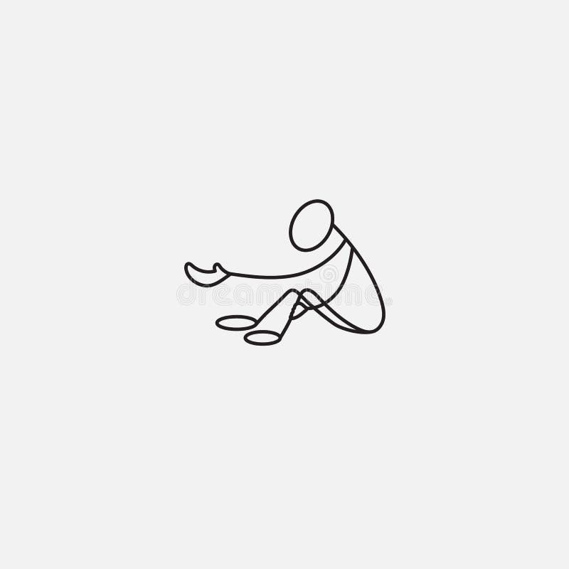 Homme de bâton de mendiant illustration libre de droits