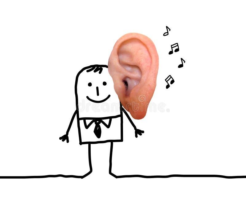 Homme de bande dessinée avec la grande oreille et la musique images stock