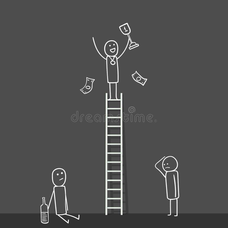 Homme de bande dessinée avec la tasse de gagnant sur l'échelle et les perdants au fond Illustration de vecteur Concept d'échelle  illustration stock