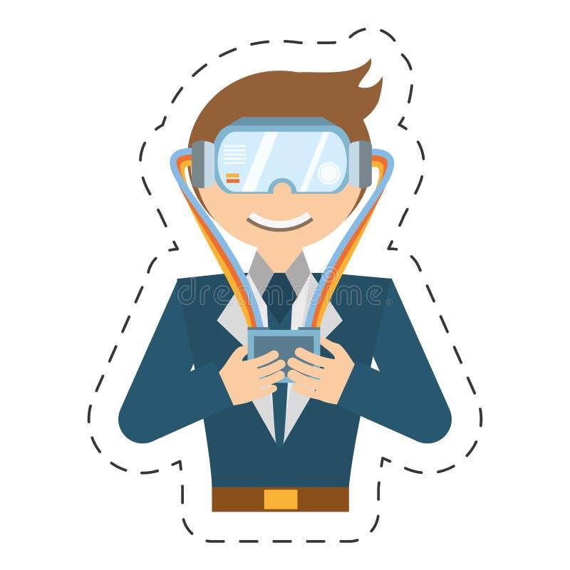 homme de bande dessinée avec le contrôle de lunettes de vr illustration libre de droits