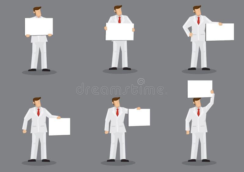 Homme de bande dessinée dans le costume blanc tenant une illustration de caractère de vecteur de panneau d'affichage de plaquette illustration stock