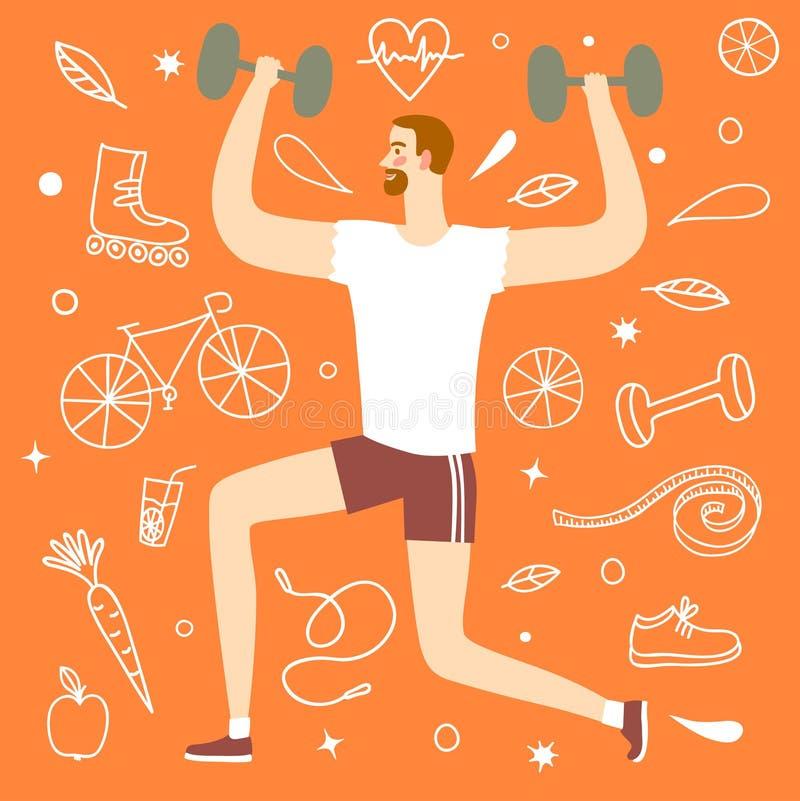 Homme de bande dessinée faisant l'exercice avec des poids illustration libre de droits