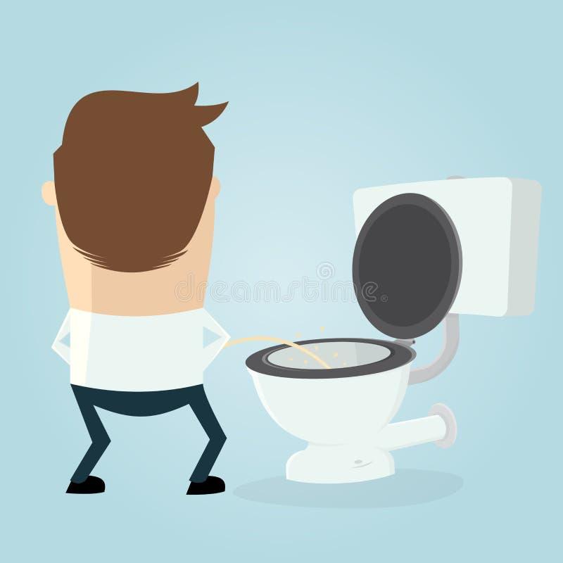 Homme de bande dessinée faisant pipi sur le siège des toilettes illustration libre de droits
