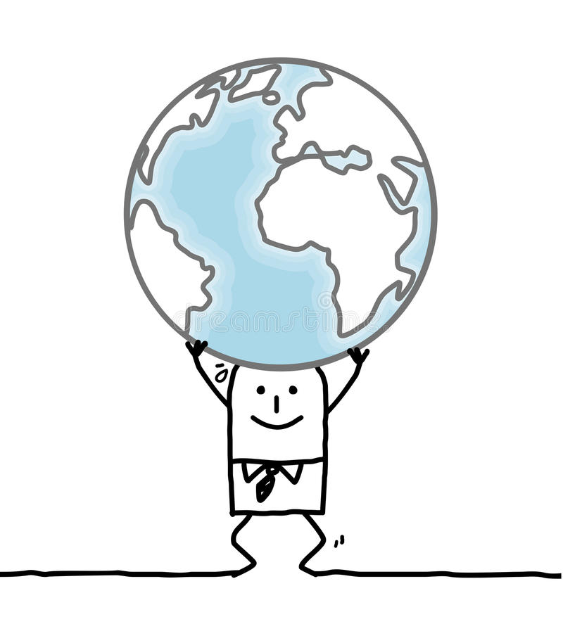 Homme de bande dessinée portant la terre illustration stock