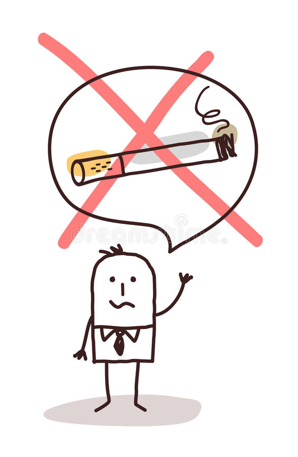 Homme de bande dessinée qui veut cesser le tabagisme illustration stock