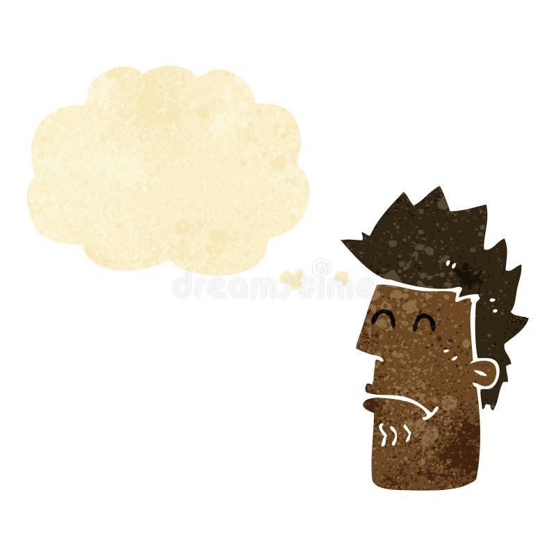 homme de bande dessinée se sentant malade avec la bulle de pensée illustration de vecteur