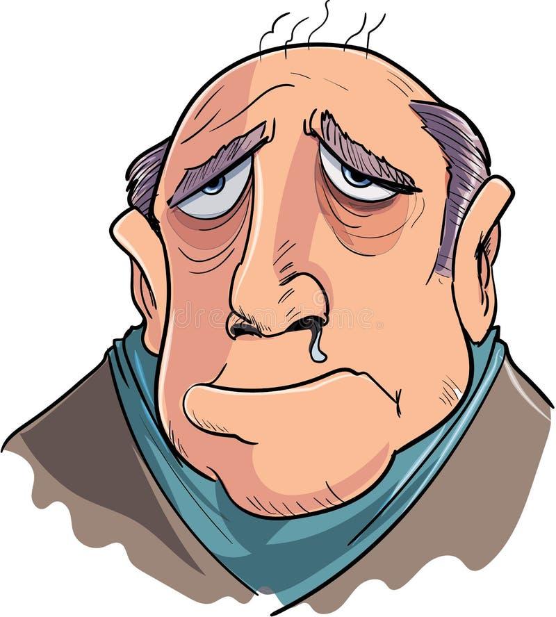 Homme de bande dessinée souffrant de la grippe illustration de vecteur