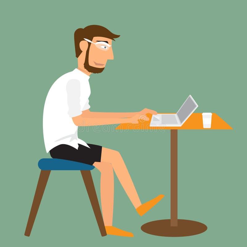 Homme de bande dessinée travaillant avec l'ordinateur portable sur le bureau illustration de vecteur