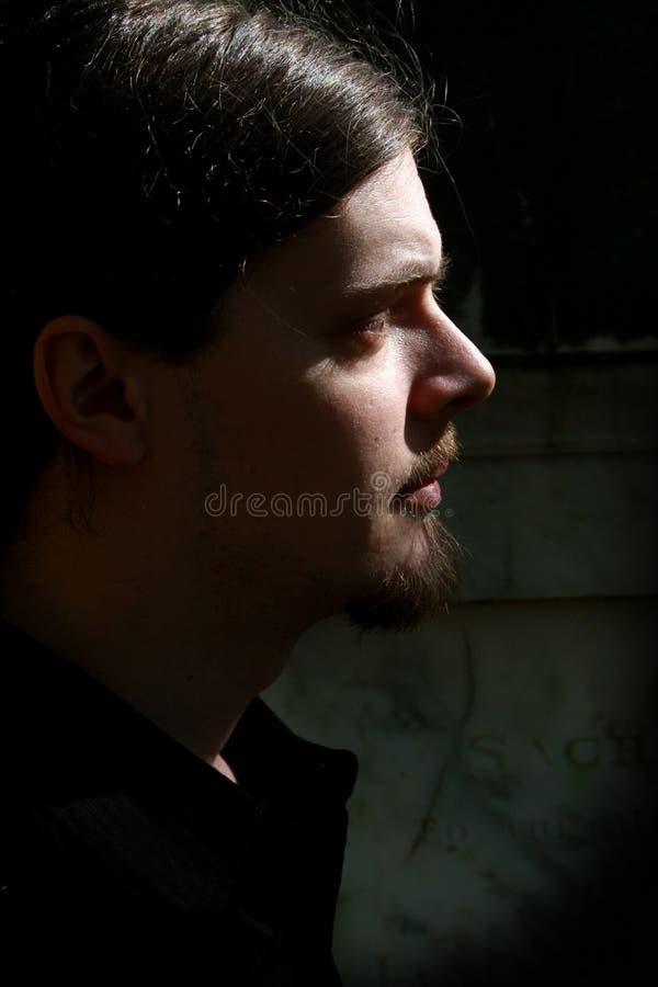 Homme de barbichette, discret photographie stock