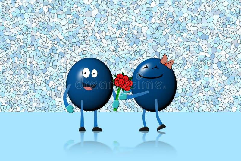 Homme de boule de caractère donnant le bouquet de fleurs à la femme de caractère illustration stock