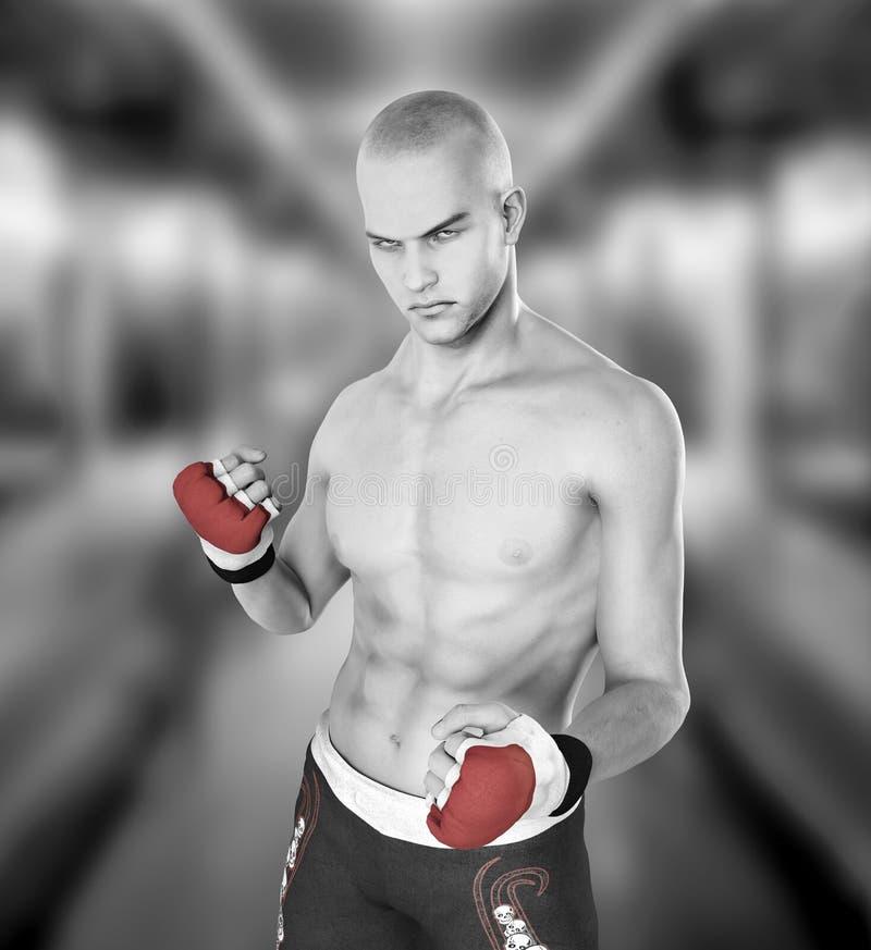 Homme de boxeur de combattant d'arts martiaux illustration libre de droits