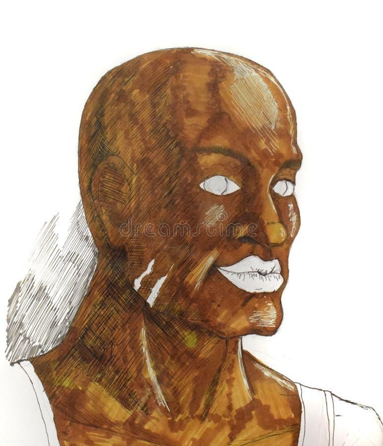 Homme de brun de figure avec de grandes lèvres Homme négroïde de course illustration stock