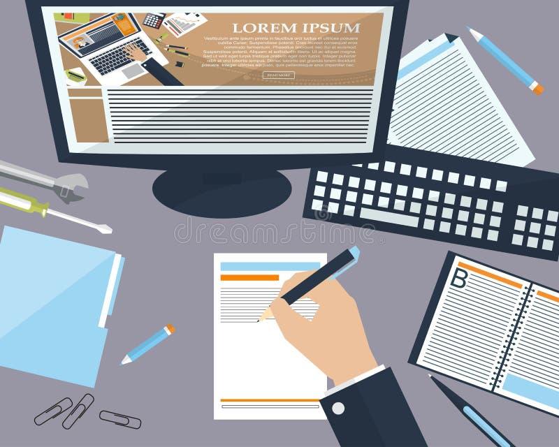 Homme de bureau d'affaires dans le bureau avec l'endroit pour votre texte Fond plat Vecteur illustration libre de droits