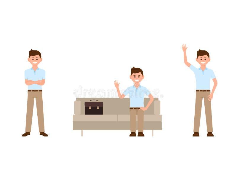 Homme de bureau s'asseyant sur le sofa, mains croisées, personnage de dessin animé de ondulation Illustration de vecteur de perso illustration libre de droits