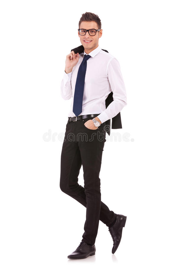 Homme de Bussiness avec la couche sur l'épaule images stock