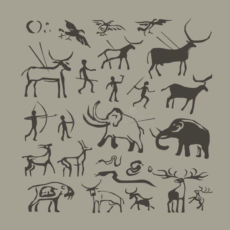 Homme de caverne et peinture de roche d'animaux illustration libre de droits