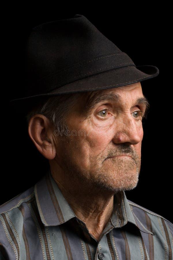 homme de chapeau noir vieux photo libre de droits
