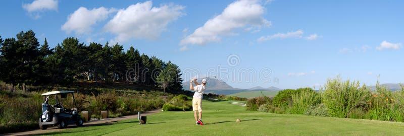 Homme de chariot de golf photo libre de droits