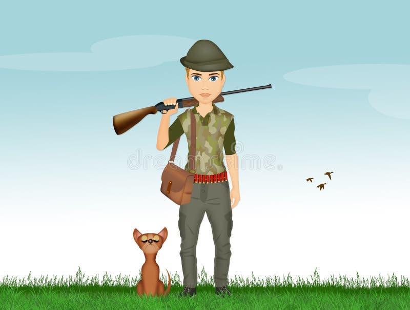 Homme de chasseur avec le chien illustration de vecteur
